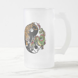 yin yang dragon and tiger frosted glass beer mug