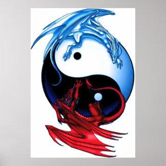 Yin Yang Dragon Poster