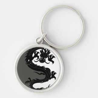 Yin Yang Dragon Silver-Colored Round Keychain