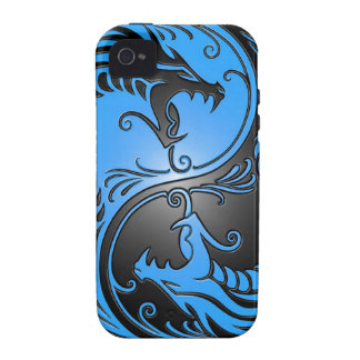 Yin Yang Dragons, blue and black Case-Mate iPhone 4 Covers