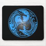 Yin Yang Dragons, blue and black Mouse Pad