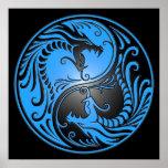 Yin Yang Dragons, blue and black Poster