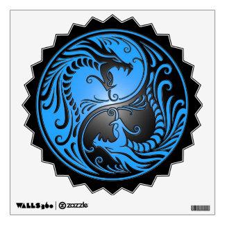 Yin Yang Dragons, blue and black Wall Decal