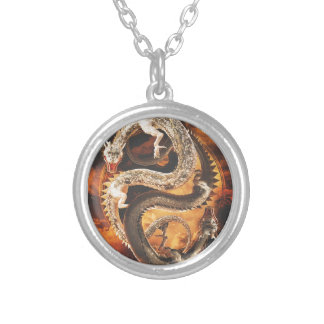 Yin Yang Dragons - Chaos Silver Plated Necklace