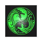 Yin Yang Dragons, green and black Canvas Print