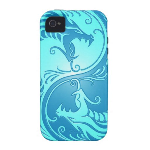 Yin Yang Dragons, light blue Case-Mate iPhone 4 Case