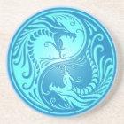 Yin Yang Dragons, light blue Coaster