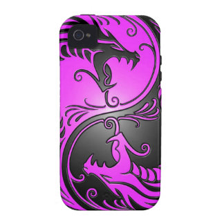 Yin Yang Dragons, purple and black iPhone 4/4S Cases