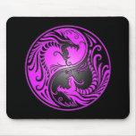 Yin Yang Dragons, purple and black Mousepads