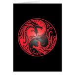 Yin Yang Dragons, red and black Greeting Card