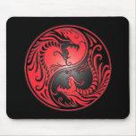 Yin Yang Dragons, red and black Mousepad