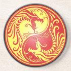 Yin Yang Dragons, red and yellow Coaster