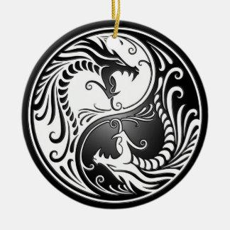 Yin Yang Dragons Round Ceramic Ornament