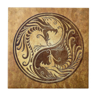 Yin Yang Dragons, stone Tile