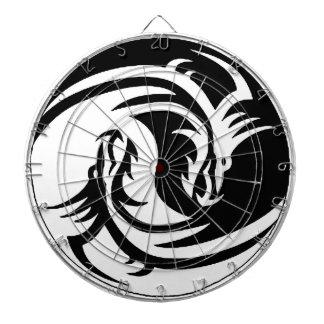 yin-yang dragons tribal pattern white dart board