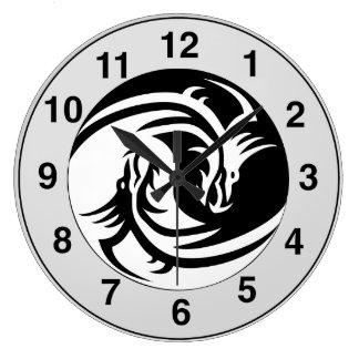 Yin Yang Dragons Tribal Tattoo Design Wall Clock