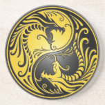 Yin Yang Dragons, yellow and black Drink Coaster