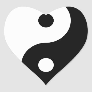 yin yang eastern asian philosophy heart sticker