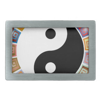 yin yang eastern asian philosophy rectangular belt buckle