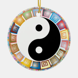 yin yang eastern asian philosophy round ceramic ornament