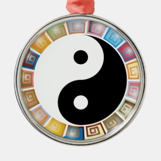 yin yang eastern asian philosophy Silver-Colored round ornament