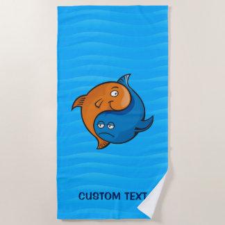 Yin Yang Fish Cartoon Beach Towel