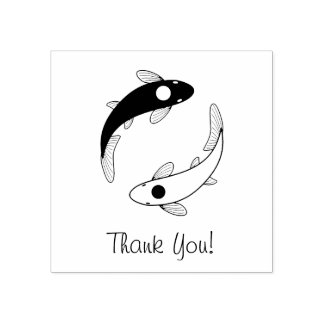 Yin-Yang Fish Thank You Rubber Stamp