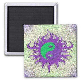 Yin Yang Fleur De Lis Square Magnet