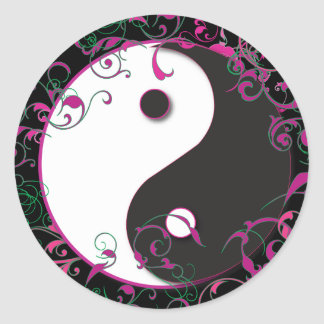 Yin & Yang Floral Design Round Sticker