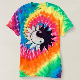 Yin-Yang Flower on Tie-Dye T-Shirt
