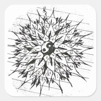 Yin-Yang flower sticker