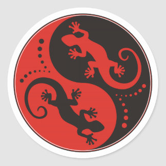 YIN & YANG Geckos black red + your background idea Round Sticker
