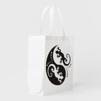 YIN & YANG Geckos black + your background & idea Grocery Bag