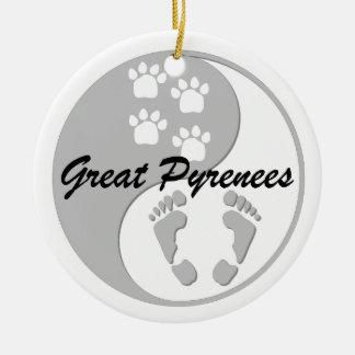yin yang great pyrenees ceramic ornament