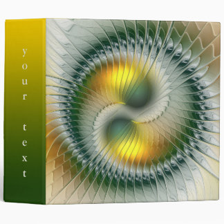 Yin Yang Green Yellow Abstract Colorful Fractal 3 Ring Binder