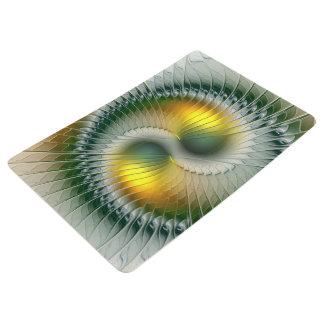 Yin Yang Green Yellow Abstract Colorful Fractal Floor Mat