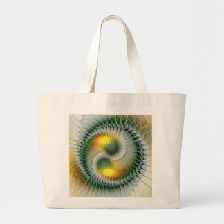 Yin Yang Green Yellow Abstract Colorful Fractal Large Tote Bag