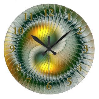 Yin Yang Green Yellow Abstract Colourful Fractal Large Clock