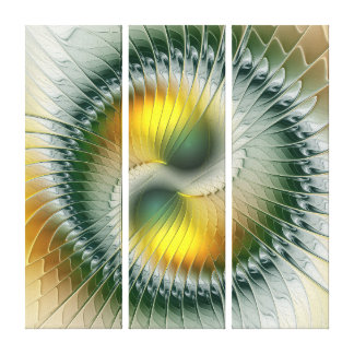 Yin Yang Green Yellow Abstract Fractal Triptych Canvas Print