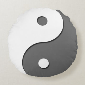 Yin Yang - grey 1 Round Pillow