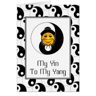 Yin Yang Happy Face Card Greeting Card