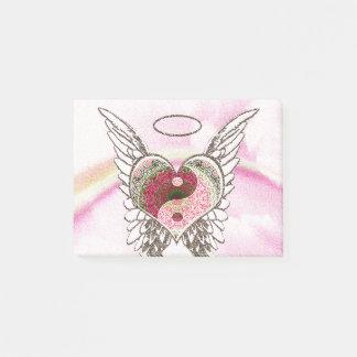 Yin Yang Heart Angel Wings Watercolor Post-it Notes