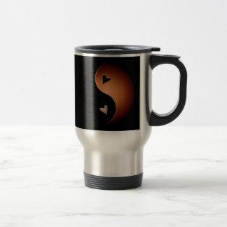 yin yang heart - coffee travel mug
