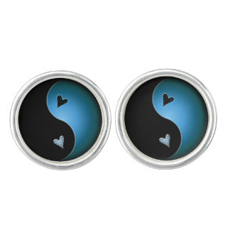 yin yang heart - turquoise cuff links