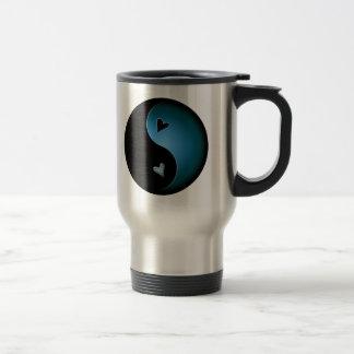 yin yang heart - turquoise travel mug