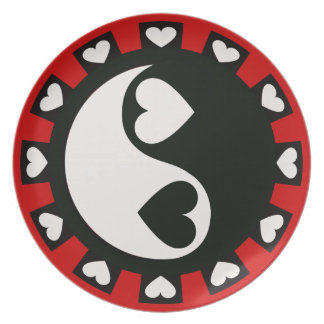 YIN YANG HEARTS BLACK & WHITE Plate