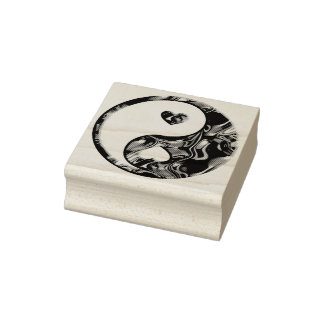 Yin & Yang Hearts gold + your ideas Rubber Stamp