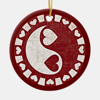 YIN YANG HEARTS RED Ornament