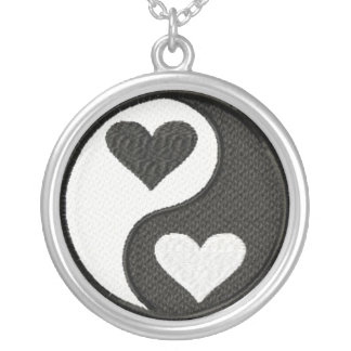 Yin Yang hearts Silver Plated Necklace