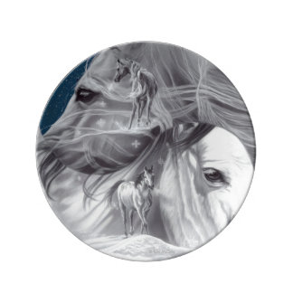 Yin Yang Horse Porcelain Plate